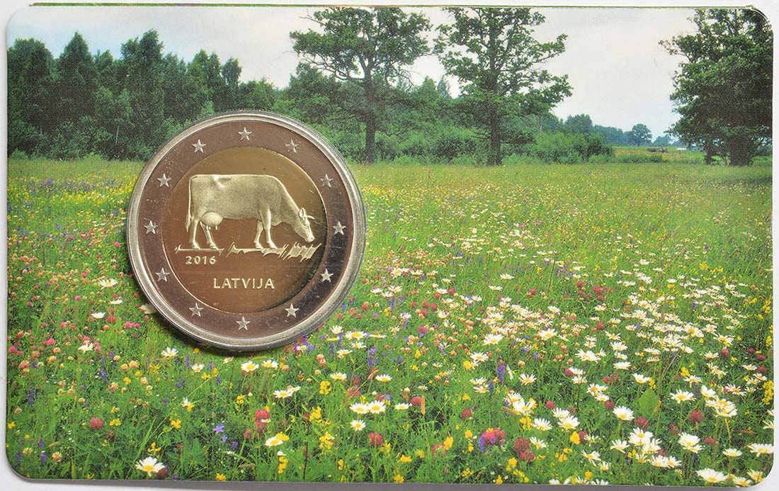 Lieferumfang:Lettland : 2 Euro Kuh  2016 Stgl.