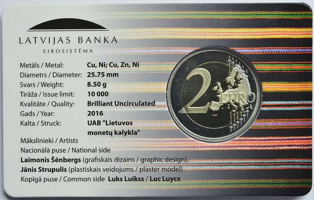 Rückseite :Lettland : 2 Euro Vidzeme  2016 Stgl.
