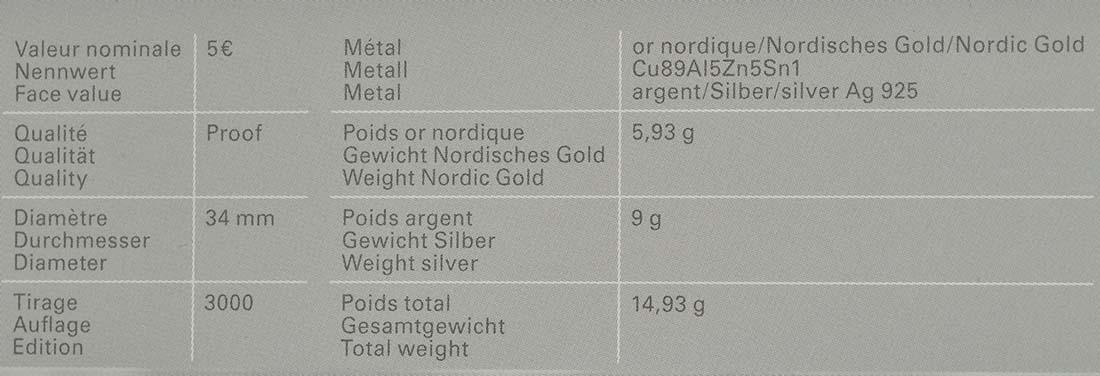 Zertifikat:Luxemburg : 5 Euro Kornblume  2016 PP