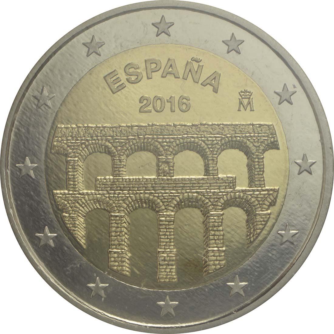 Rückseite:Spanien : 2 Euro Altstadt und Aquädukt von Segovia  2016 PP