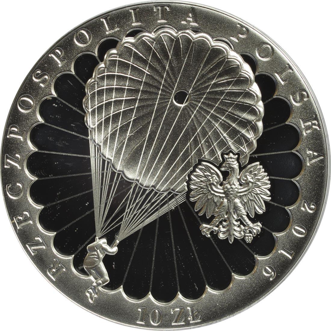 Vorderseite:Polen : 10 Zloty 75. Jahre Erster Sprung eines Fallschirmagenten  2016 PP