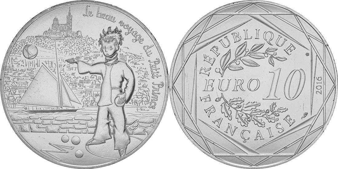 Lieferumfang:Frankreich : 10 Euro 01/24 Der kleine Prinz spielt Boule in Marseille  2016 bfr