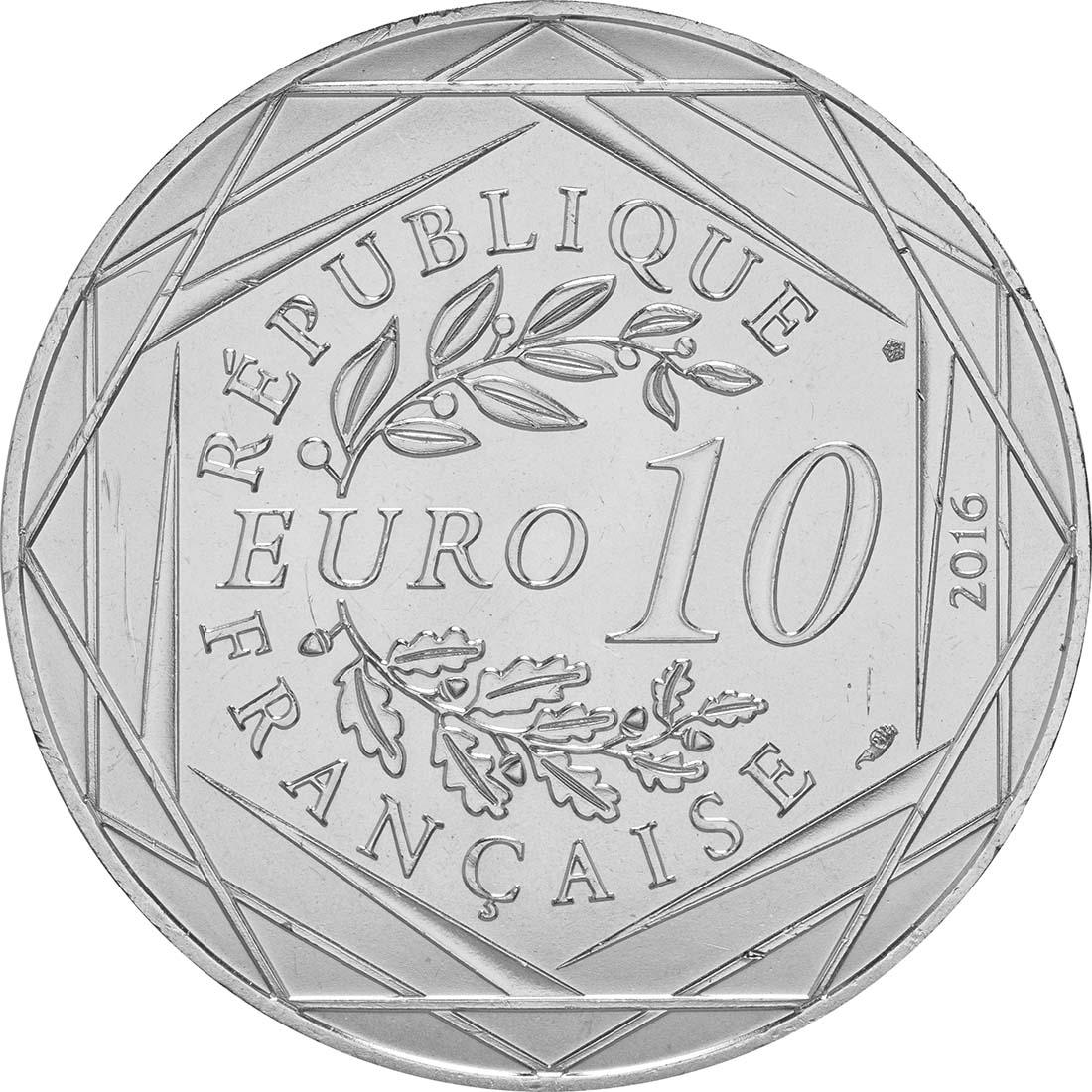 Rückseite:Frankreich : 10 Euro 11/24 Der kleine Prinz spielt das baskische Pelota  2016 bfr
