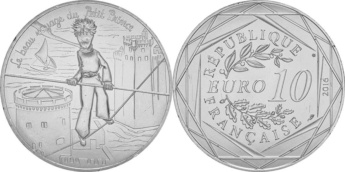 Lieferumfang:Frankreich : 10 Euro 12/24 Der kleine Prinz auf dem Seil im Zirkus  2016 bfr