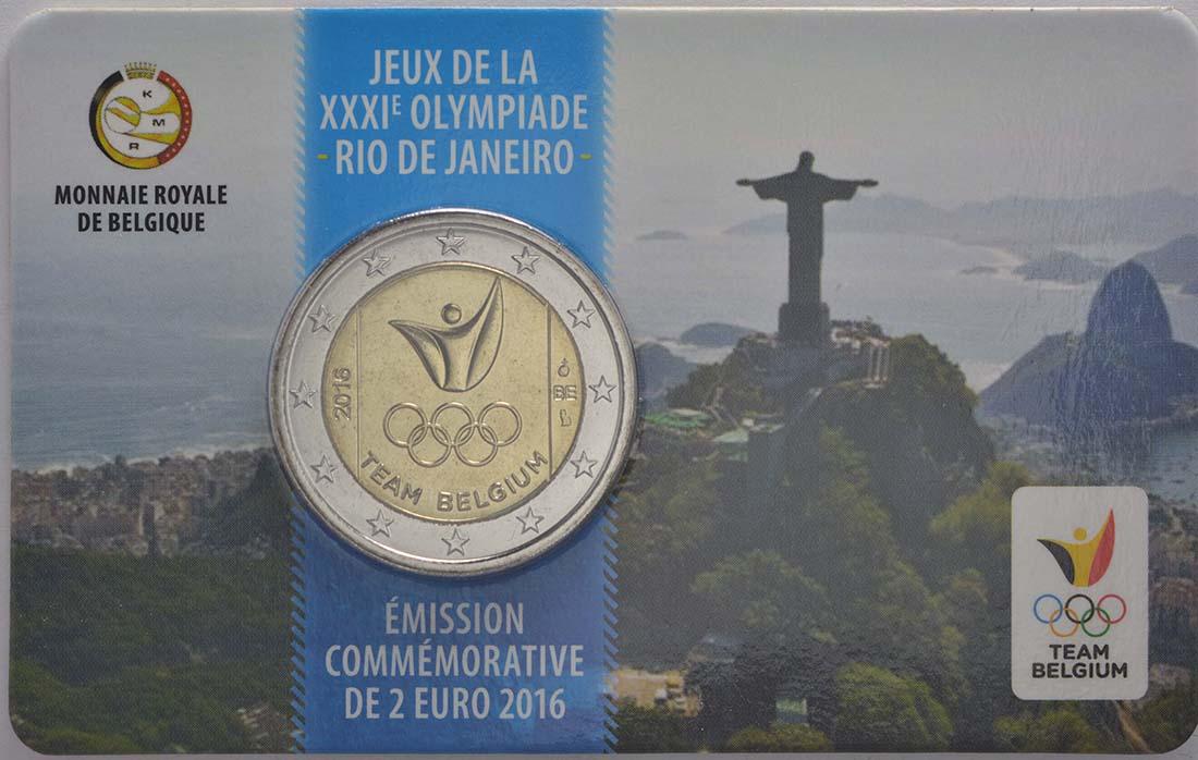 Rückseite :Belgien : 2 Euro Olympische Sommerspiele 2016 in Rio de Janeiro - French Edition  2016 bfr