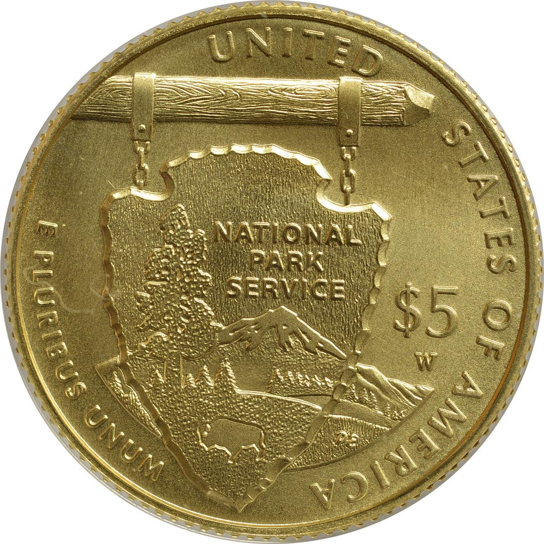 Rückseite:USA : 5 Dollar 100 Jahre National Park Service  2016 Stgl.