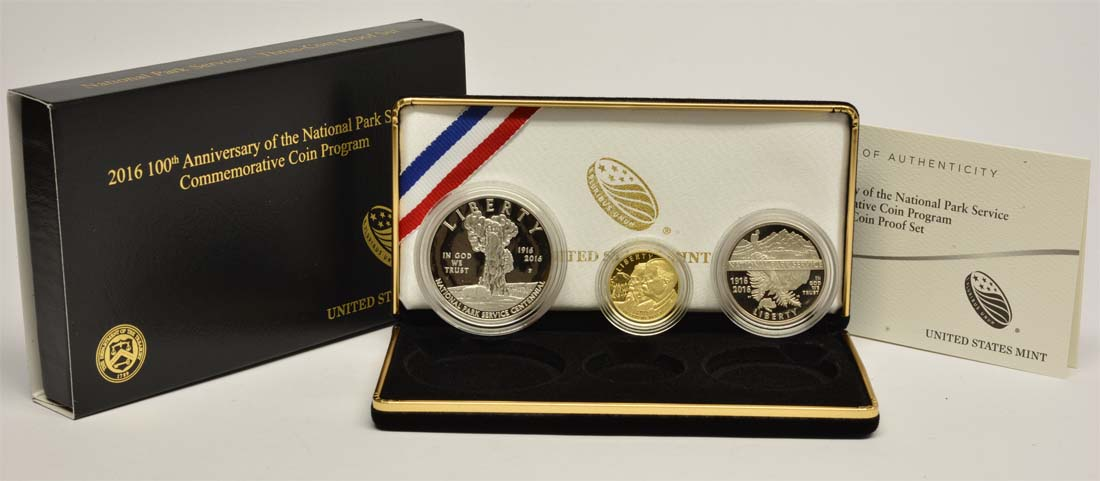 USA : 6,5 Dollar 100 Jahre National Park Service - Set Silber+Gold  2016 PP