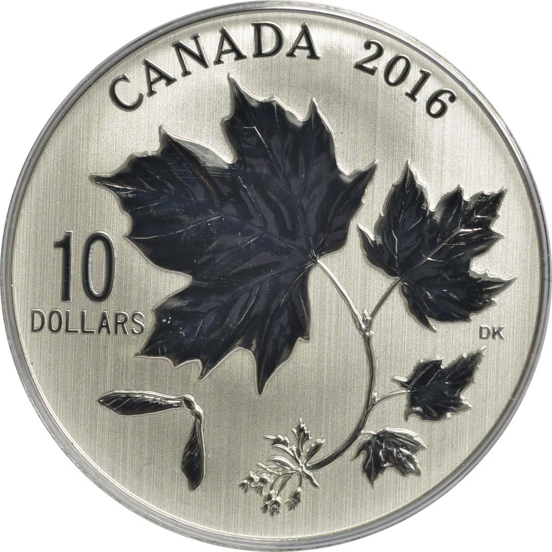 Vorderseite:Kanada : 10 Dollar Maple Leaf - Ahornblätter  2016 Stgl.