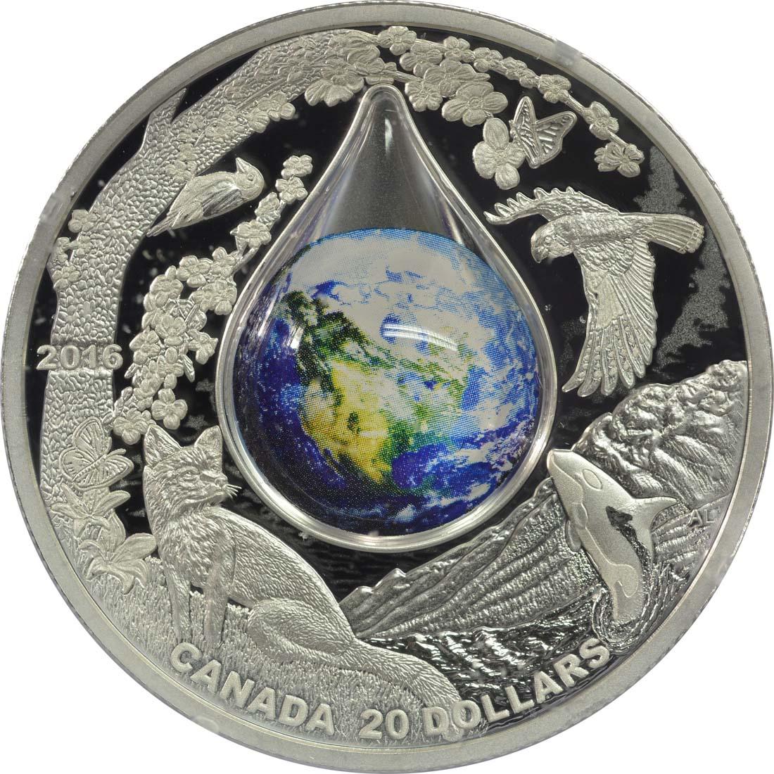 Vorderseite:Kanada : 20 Dollar Mutter Erde - mit 3D Wassertropfen  2016 PP