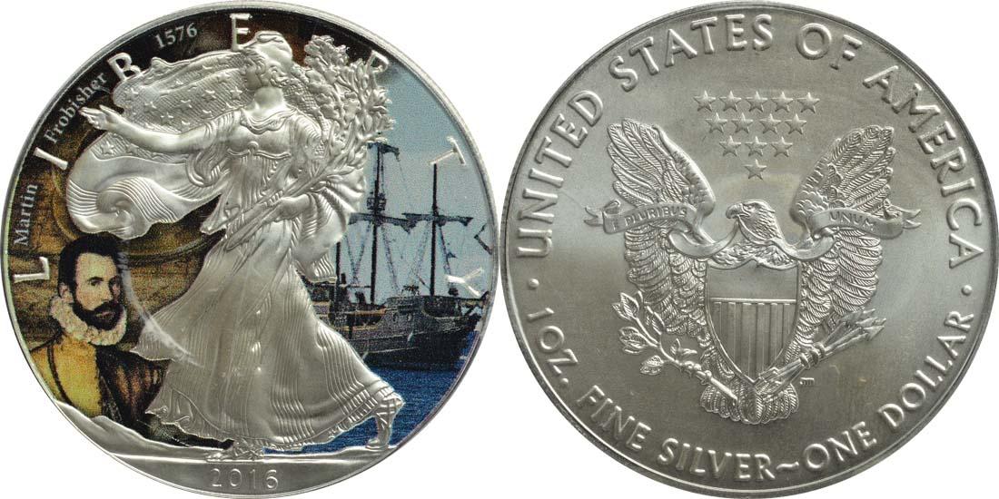 """USA : 1 Dollar Silber Eagle """"John Martin Frobisher""""  2016 Stgl."""