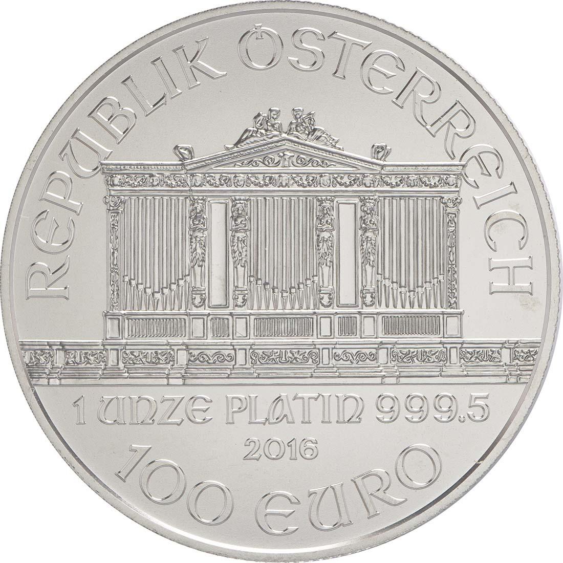 Rückseite:Österreich : 100 Euro Philharmoniker  2016 Stgl.
