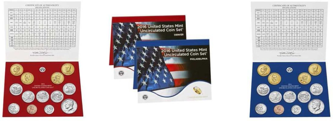 USA : 11,82 Dollar 2x5,91 $ 2016 Jahressatz incl. 5x25 Cent - D+P  2016 Stgl.
