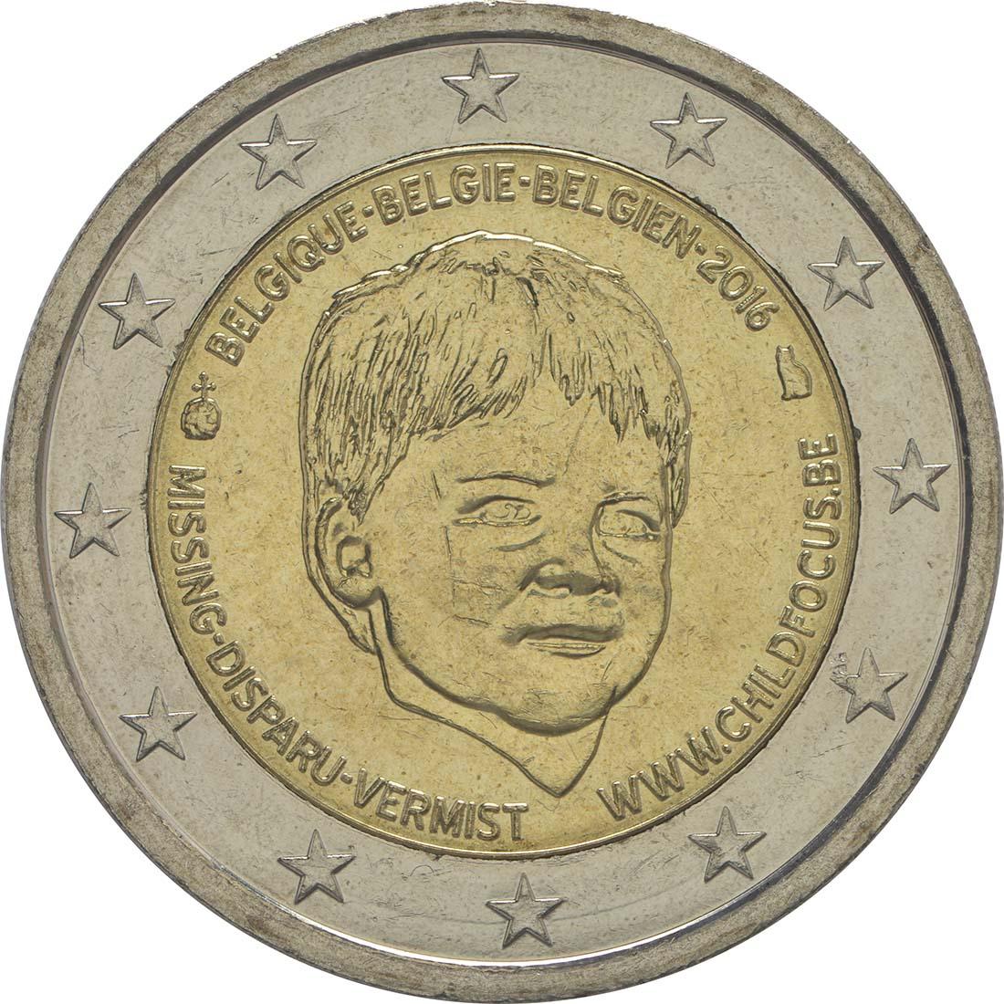 Rückseite:Belgien : 2 Euro Child Focus  2016 bfr