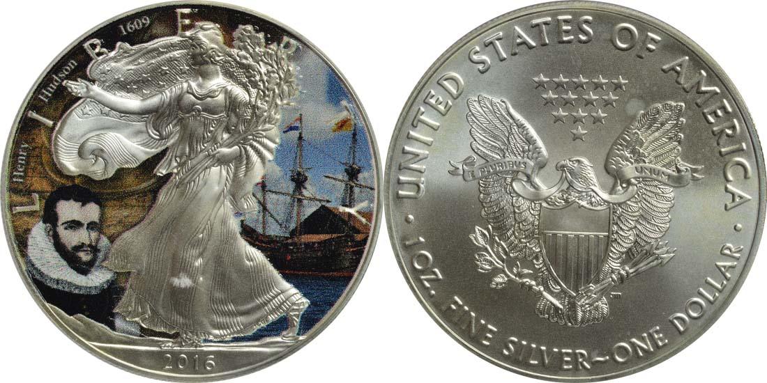 USA : 1 Dollar Silber Eagle - Henry Hudson  2016 Stgl.