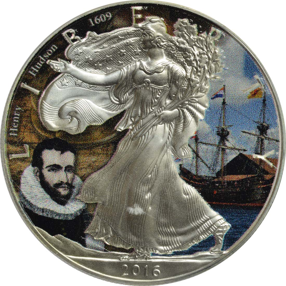 Vorderseite :USA : 1 Dollar Silber Eagle - Henry Hudson  2016 Stgl.