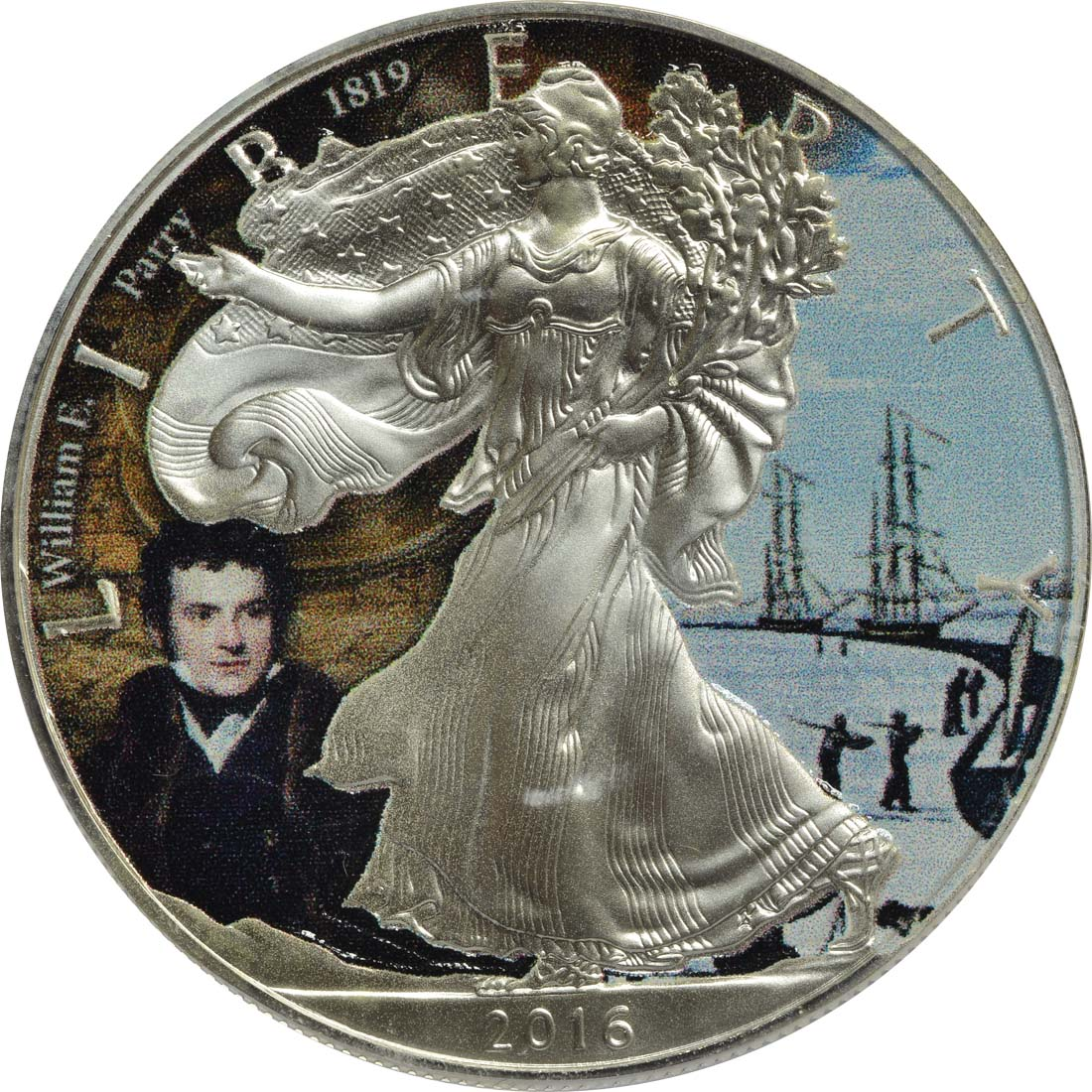 Vorderseite:USA : 1 Dollar Silber Eagle - William E. Parry  2016 Stgl.
