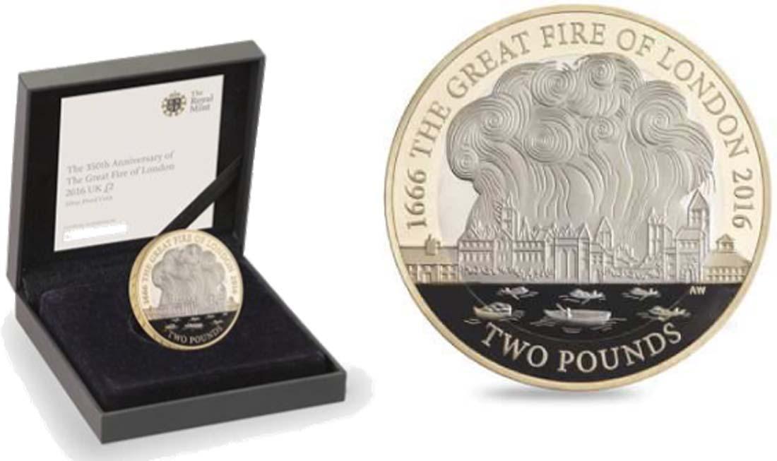 Grossbritannien 2 Pfund 350 Jahrestag Grosser Brand In London