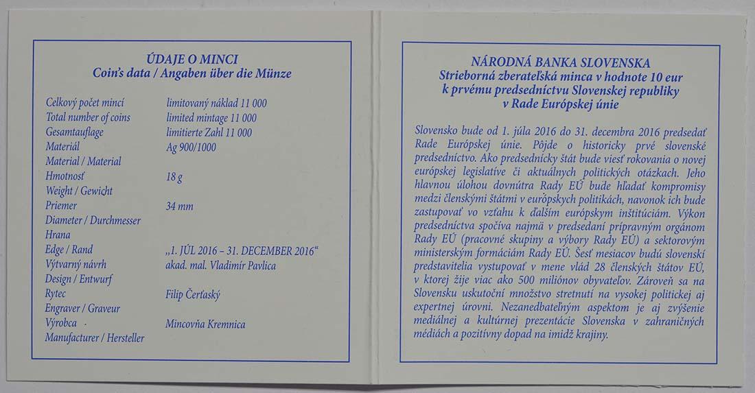 Zertifikat:Slowakei : 10 Euro EU-Präsidentschaft  2016 PP