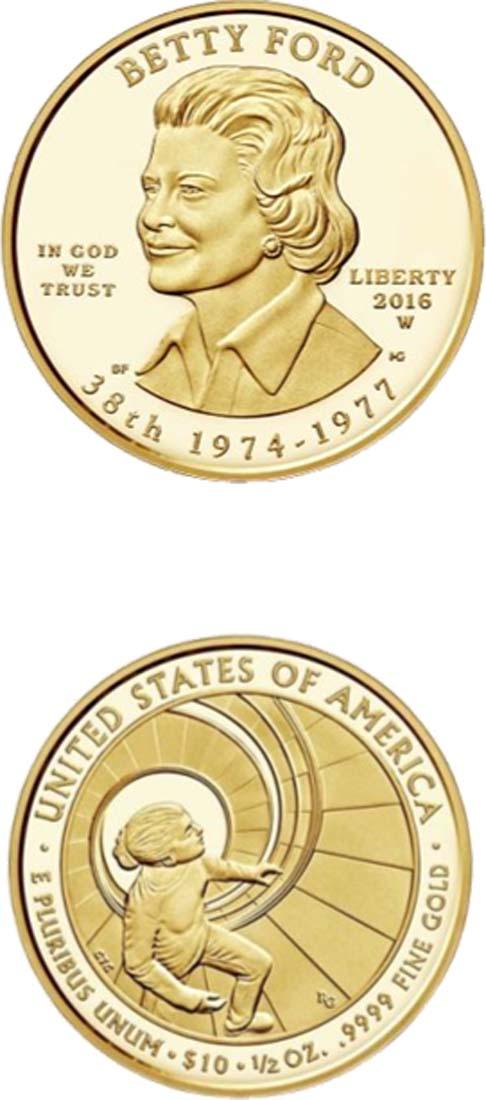 USA : 10 Dollar Präsidentengattinnen - Betty Ford  2016 PP