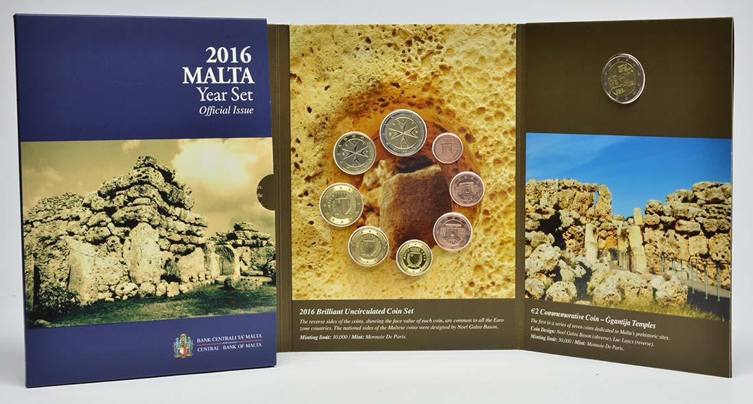 Lieferumfang:Malta : 5,88 Euro KMS Malta mit 2 Euro Gedenkmünze Ggantija Tempelanlage auf Gozo  2016 bfr