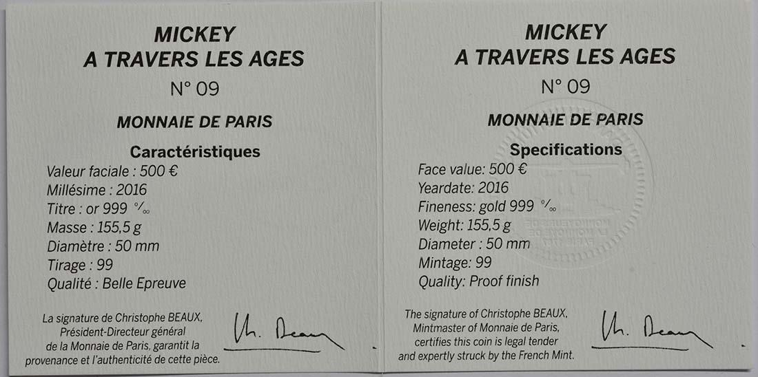 Zertifikat:Frankreich : 500 Euro Micky Maus im Wandel der Zeit  2016 PP