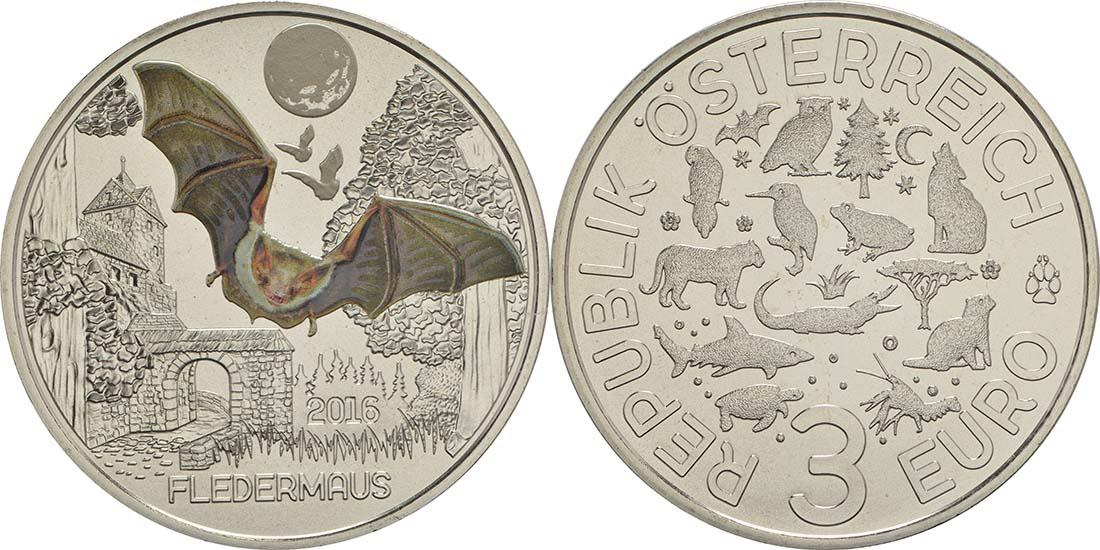 Lieferumfang:Österreich : 3 Euro Fledermaus 1/12  2016 Stgl.