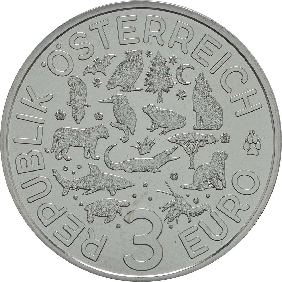 Rückseite:Österreich : 3 Euro Tiger 2/12  2017 Stgl.