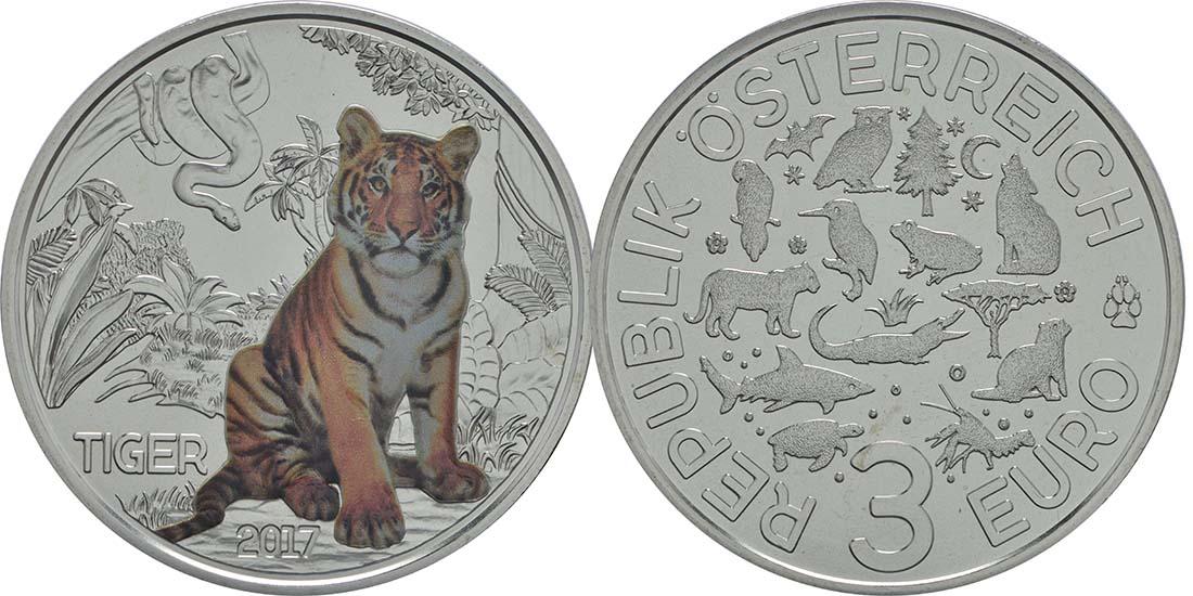 Lieferumfang:Österreich : 3 Euro Tiger 2/12  2017 Stgl.