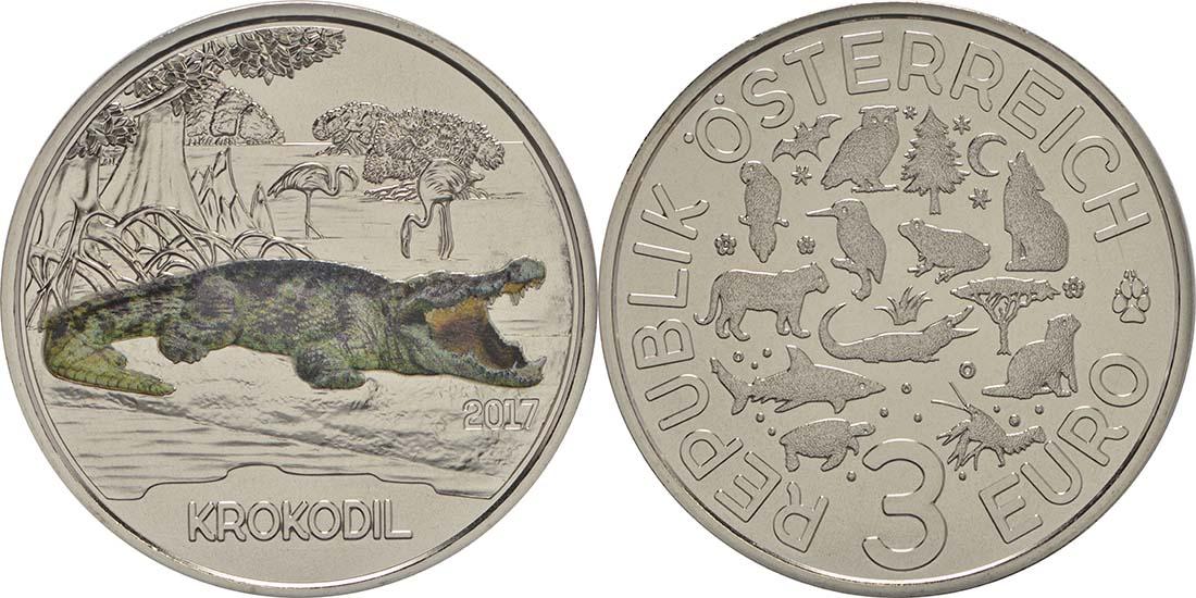 Österreich : 3 Euro Krokodil 3/12  2017 Stgl.