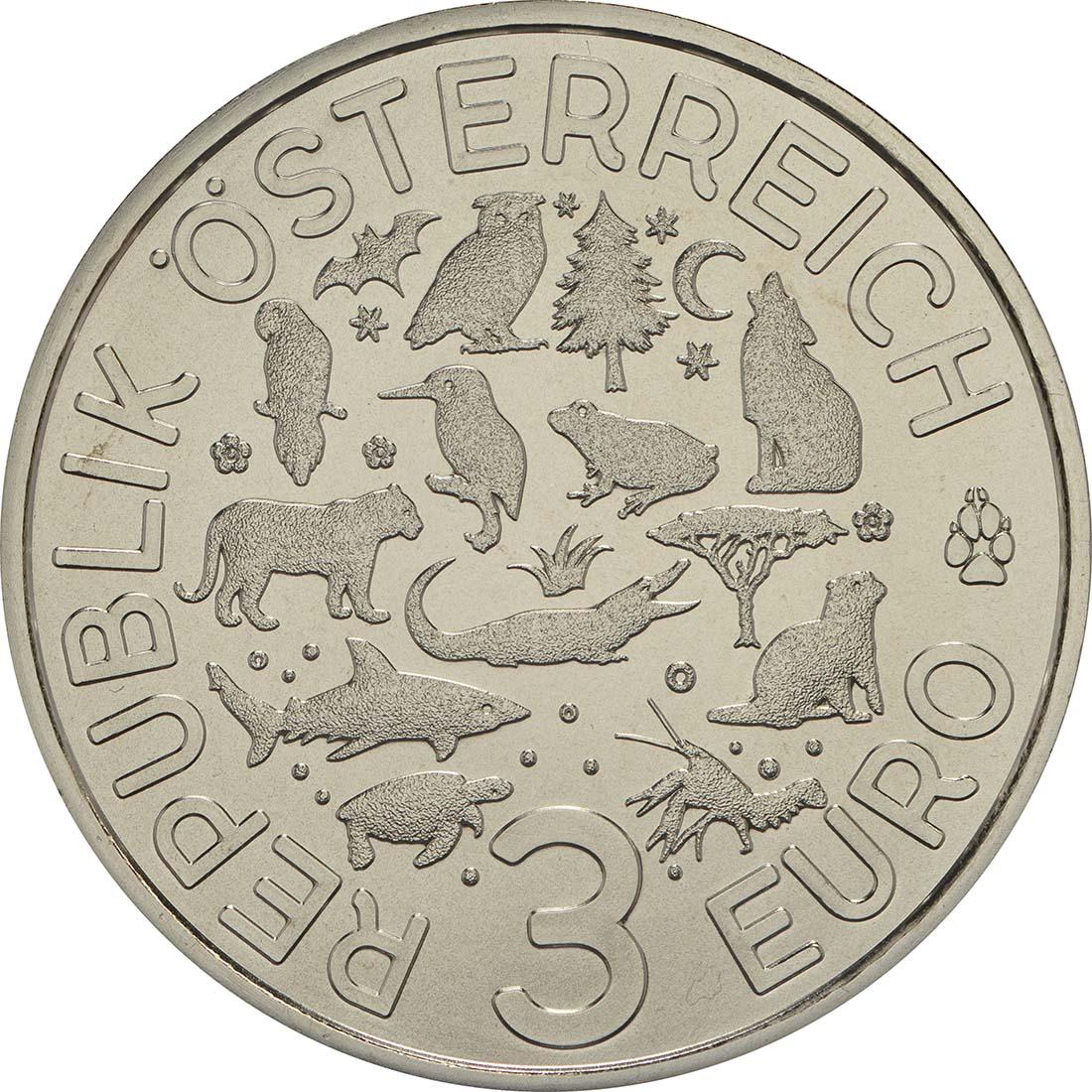 Rückseite :Österreich : 3 Euro Eisvogel 4/12  2017 Stgl.