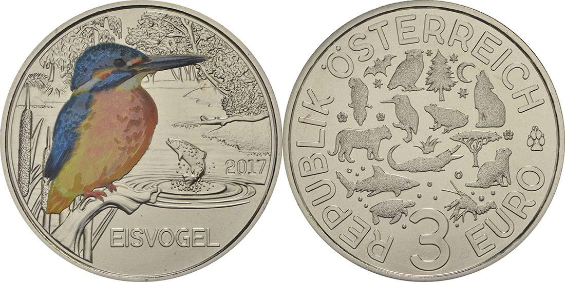 Österreich : 3 Euro Eisvogel 4/12  2017 Stgl.