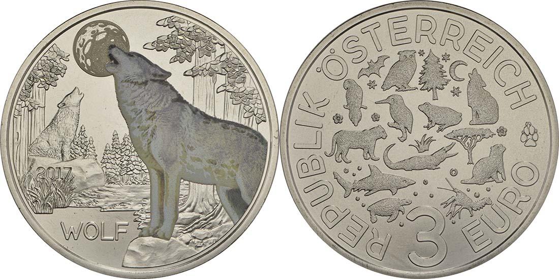 Österreich : 3 Euro Wolf 5/12  2017 Stgl.
