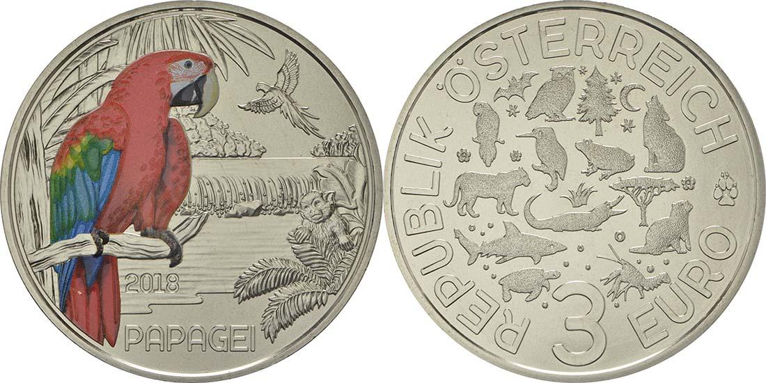 Lieferumfang:Österreich : 3 Euro Papagei 6/12  2018 Stgl.