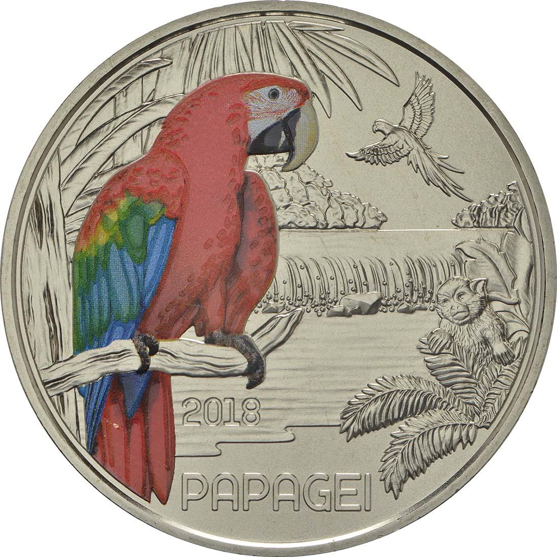 Vorderseite:Österreich : 3 Euro Papagei 6/12  2018 Stgl.