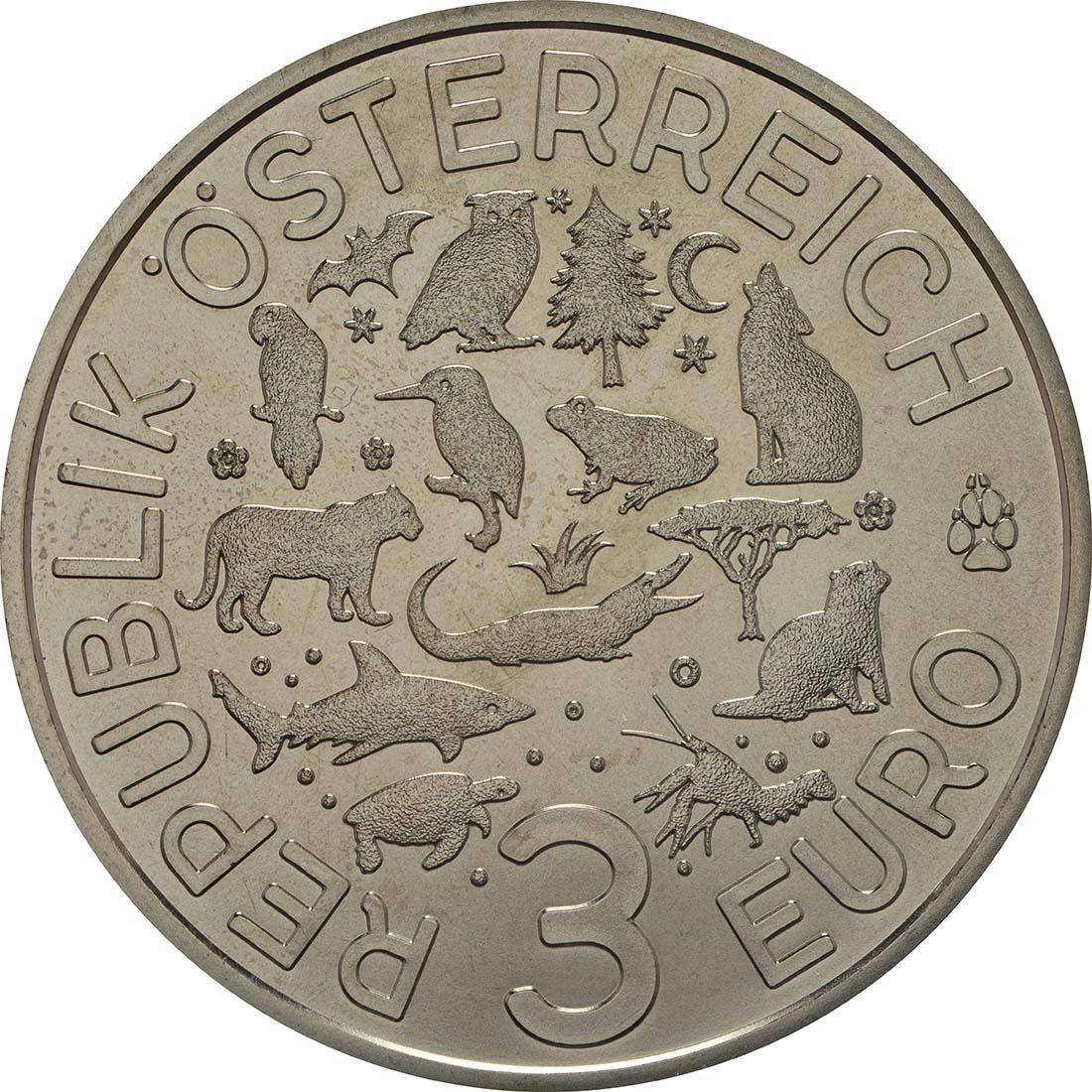 Rückseite:Österreich : 3 Euro Hai 7/12  2018 Stgl.