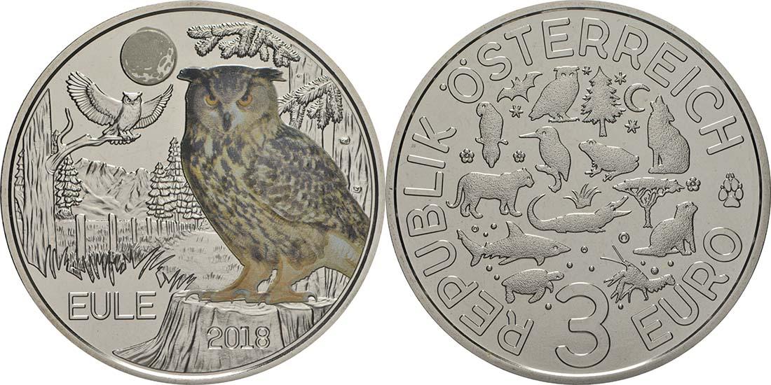 Österreich : 3 Euro Eule 8/12  2018 Stgl.