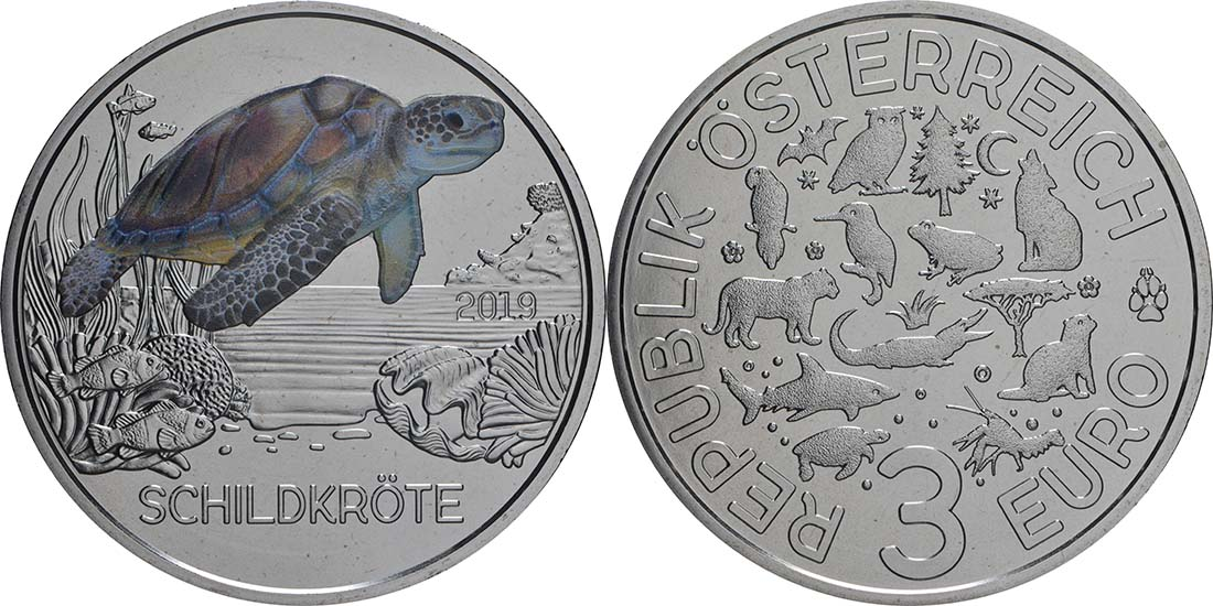 Lieferumfang:Österreich : 3 Euro Schildkröte 10/12  2019 Stgl.