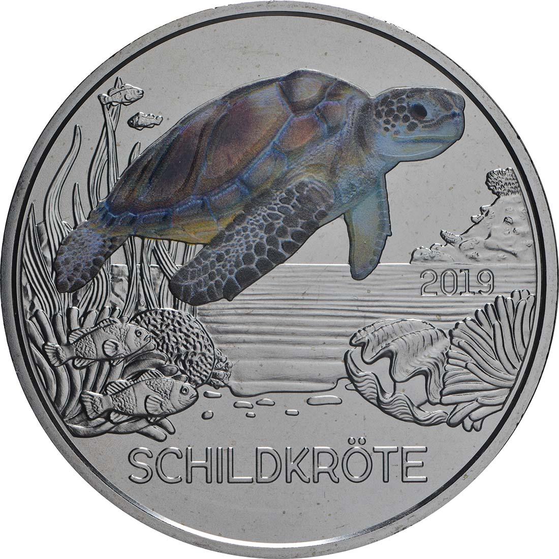 Vorderseite:Österreich : 3 Euro Schildkröte 10/12  2019 Stgl.