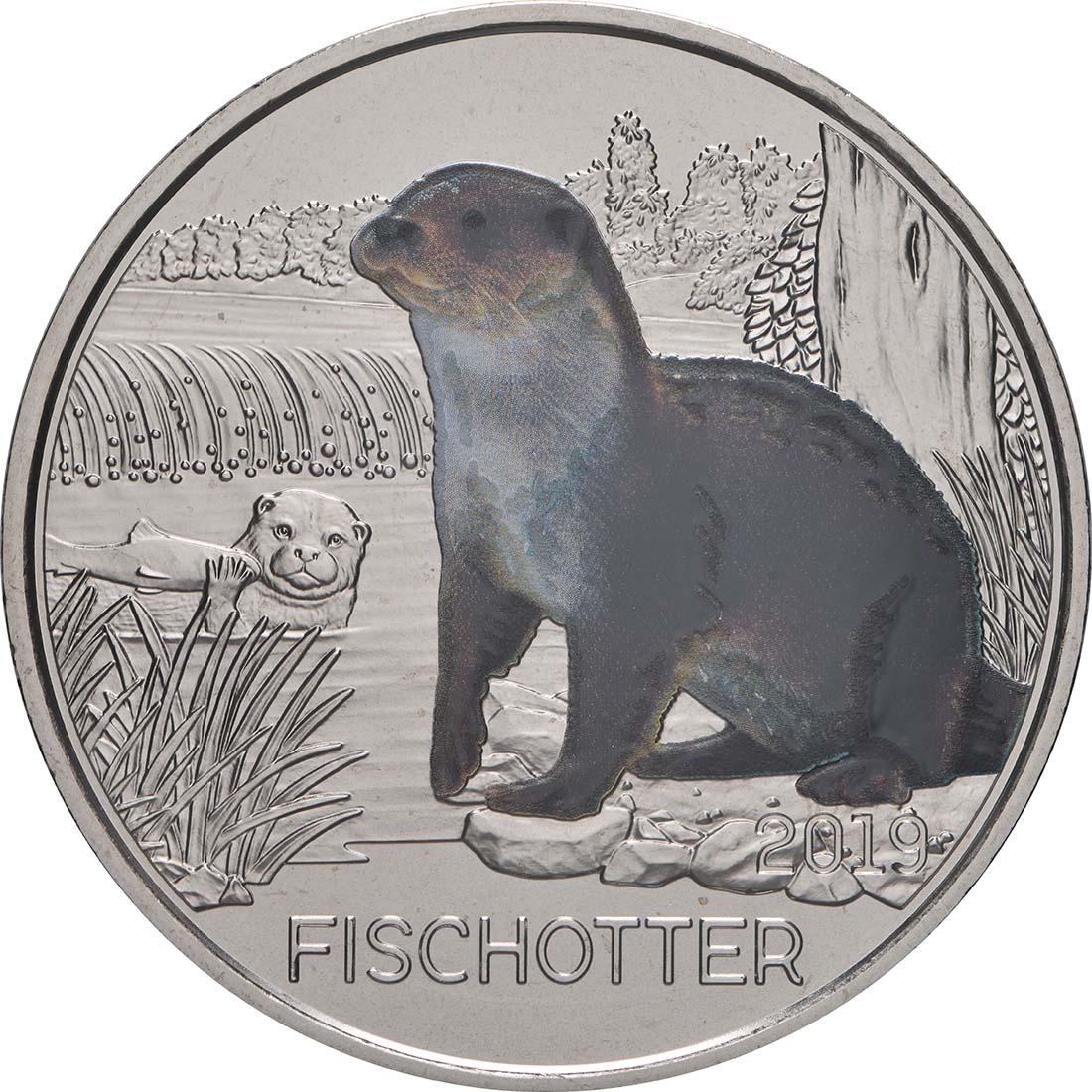 Vorderseite:Österreich : 3 Euro Fischotter 11/12  2019 Stgl.
