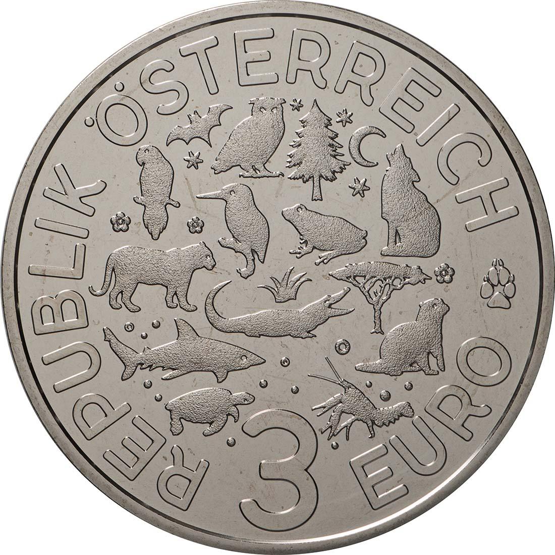 Rückseite:Österreich : 3 Euro Flusskrebs 12/12  2019 Stgl.