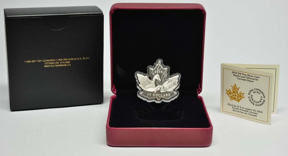 """Lieferumfang:Kanada : 10 Dollar Maple Leaf """"Canadagans"""" in Blattform  2016 PP"""
