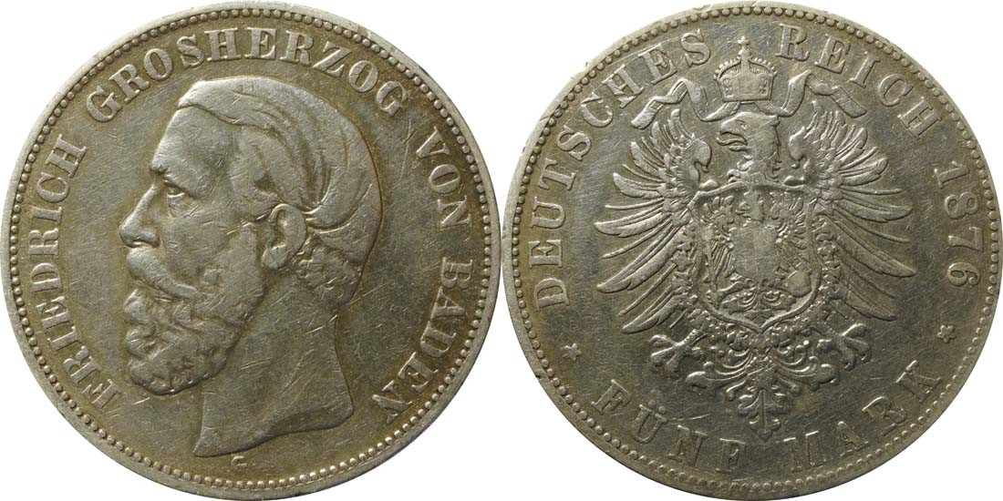 Deutschland : 5 Baden Friedrich I  1876 s/ss.