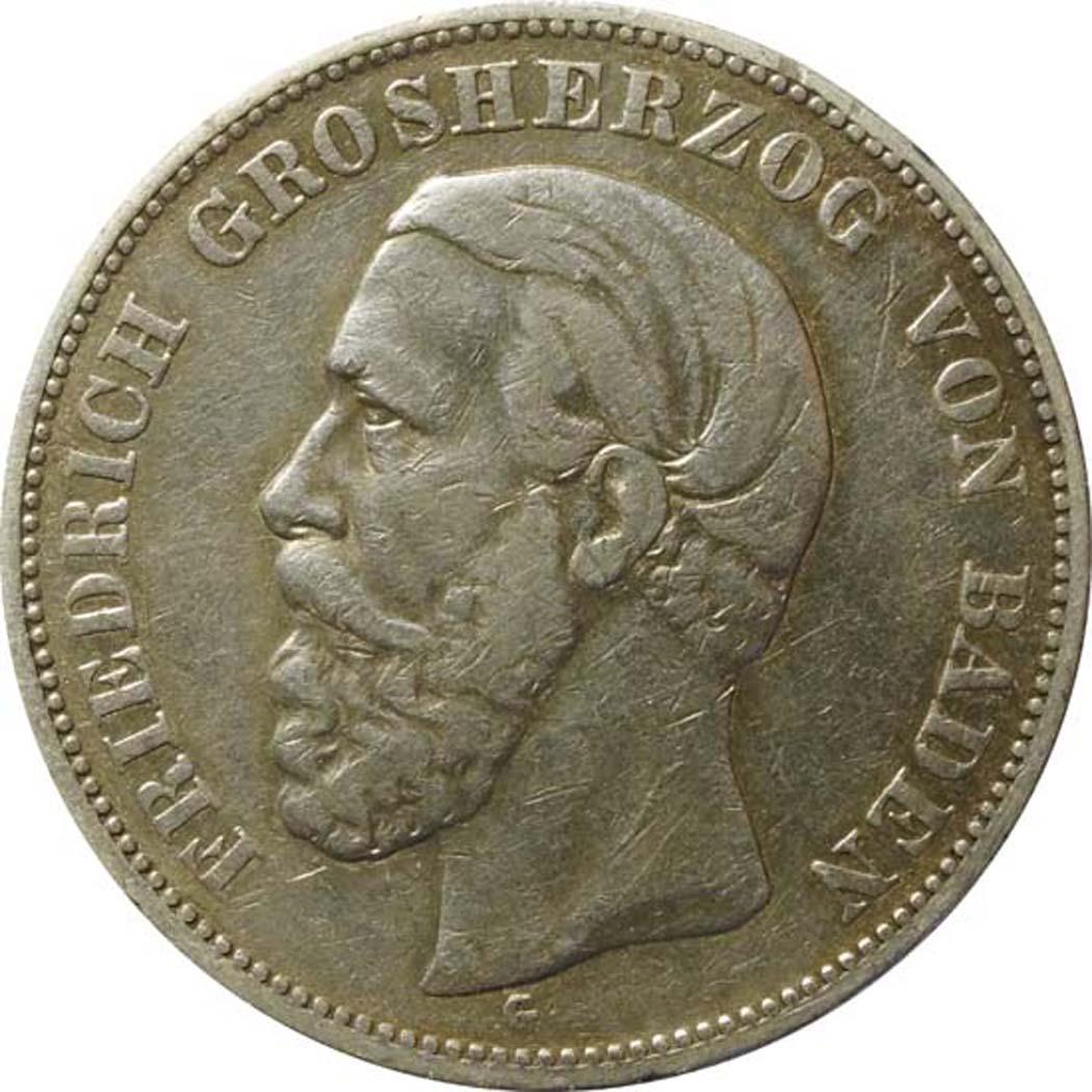 Vorderseite:Deutschland : 5 Baden Friedrich I  1876 s/ss.