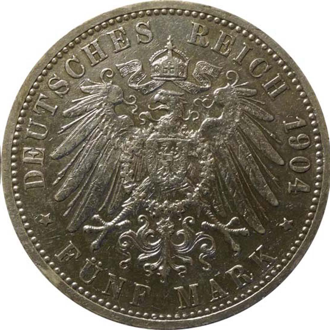 Rückseite:Deutschland : 5 Mark Friedrich I  1904 ss.