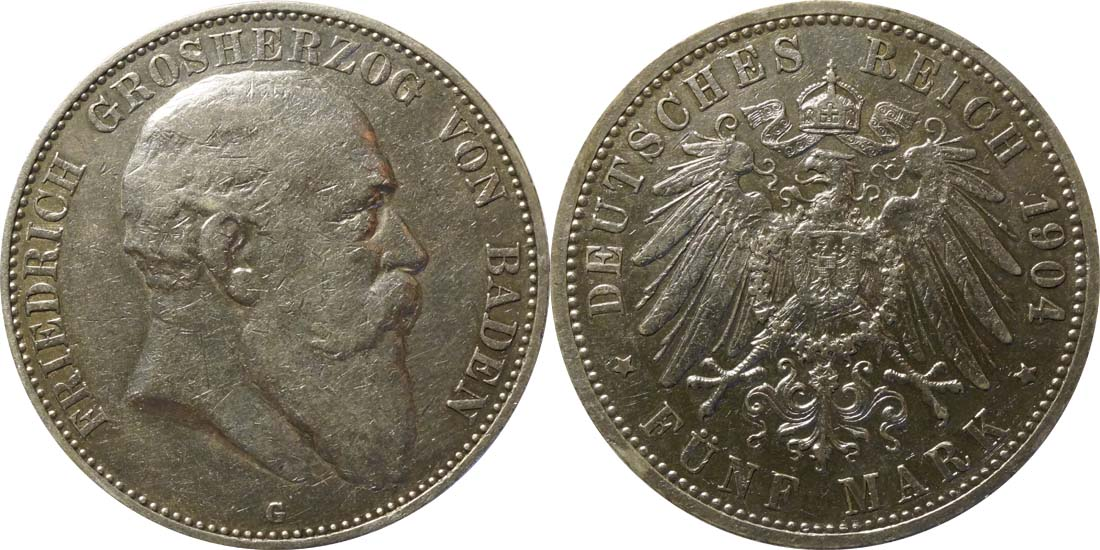 Lieferumfang:Deutschland : 5 Mark Friedrich I  1904 ss.