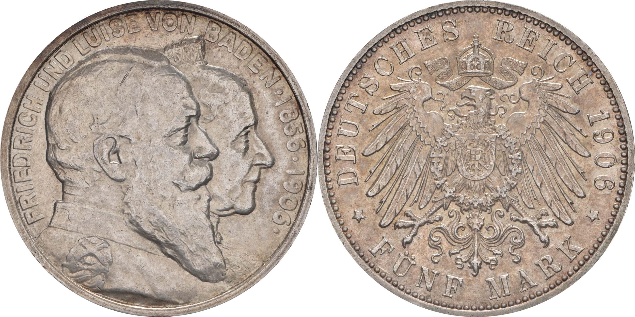 Übersicht:Deutschland : 5 Mark Friedrich u. Luise winz. Kratzer, winz. Rs., patina 1906 vz/Stgl.