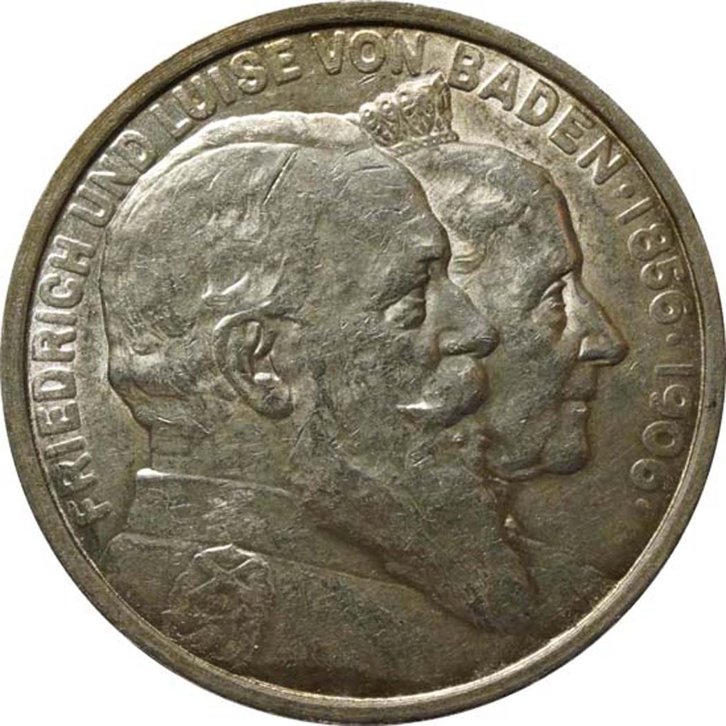 Vorderseite:Deutschland : 5 Mark Friedrich u. Luise winz. Kratzer, winz. Rs., patina 1906 vz/Stgl.