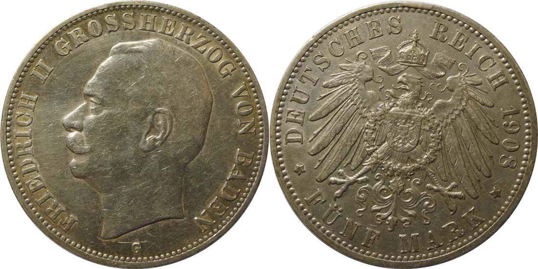 Deutschland : 5 Mark Friedrich II patina 1908 ss/vz.