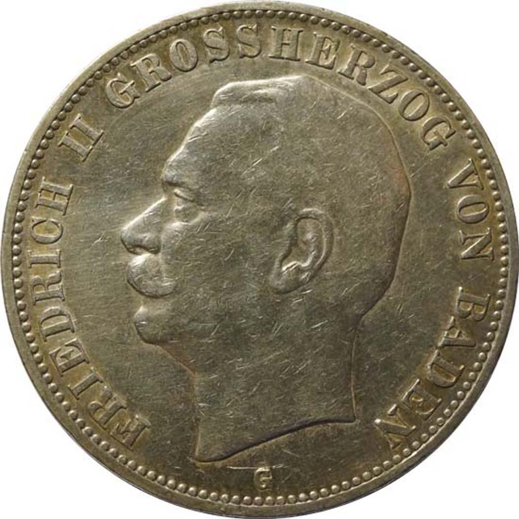 Vorderseite :Deutschland : 5 Mark Friedrich II patina 1908 ss/vz.
