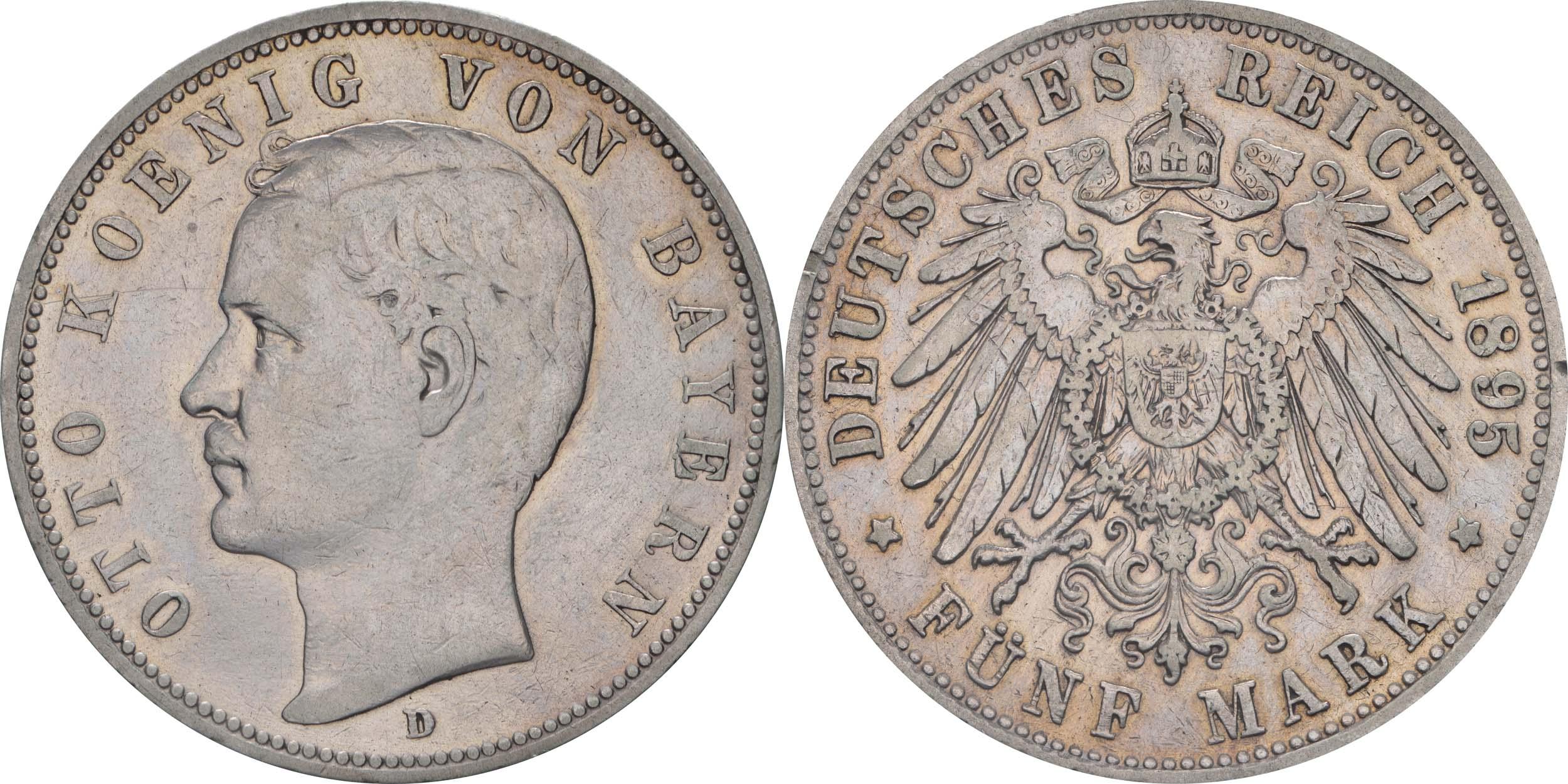 Deutschland : 5 Mark Otto winz. Rs. 1895 f.ss